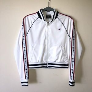 Champion Women's White Track Jacket Size Small